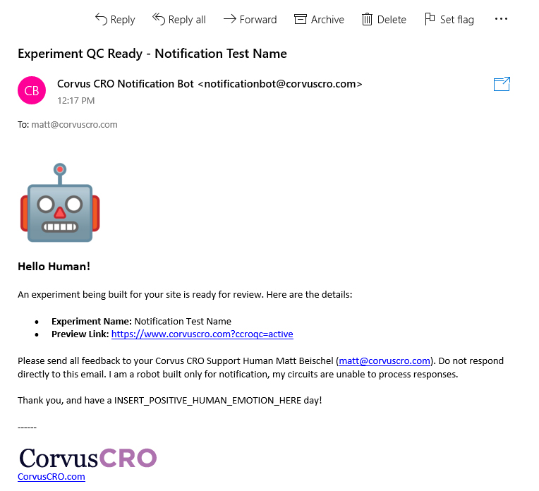 The Corvus CRO Notification Bot now sends email notifications in addition to Slack messages