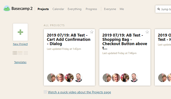 Screenshot of the Basecamp 2 project list interface, showing projects that were automatically created via integration with Airtable