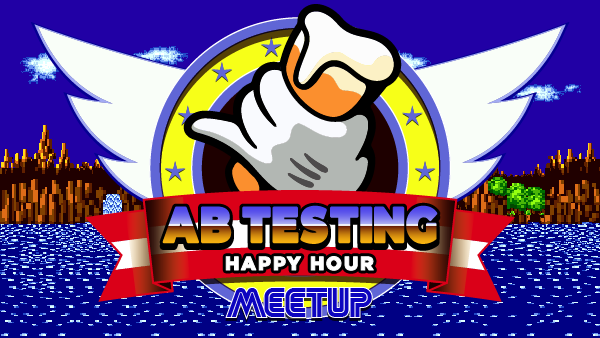 September AB Testing Happy Hour Meetup banner, design inspired by Sonic the Hedgehog