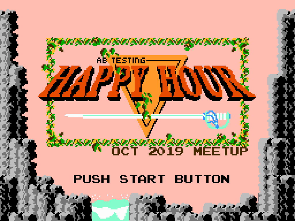 A/B Testing Happy Hour October 2019 Meetup banner, inspired by The Legend of Zelda