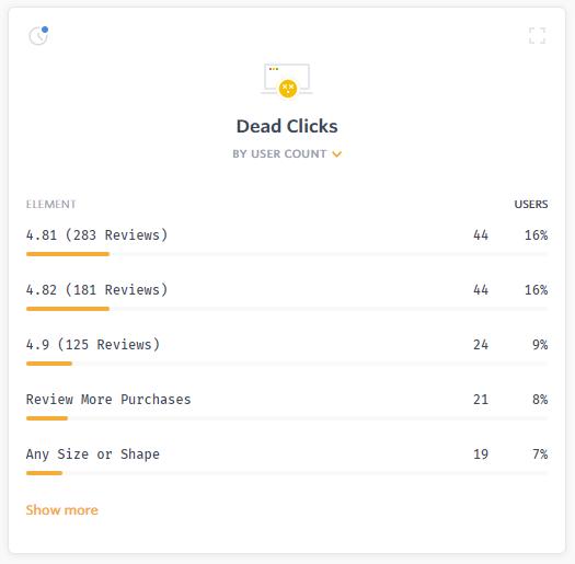 Screenshot of dead clicks in FullStory